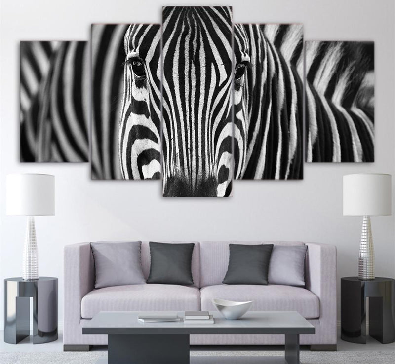 5Piece Canvas Art HD Printed Animal Painting Zebra Wall Pictures