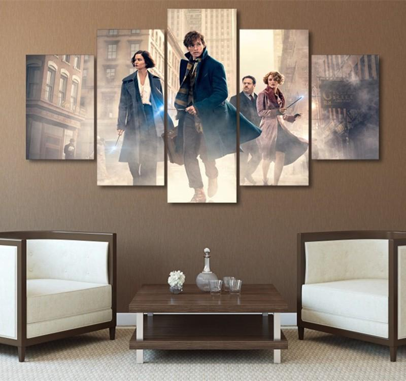 5Piece Wall Modular Picture Fantastic Beasts And Where To Find Them Wall Painting