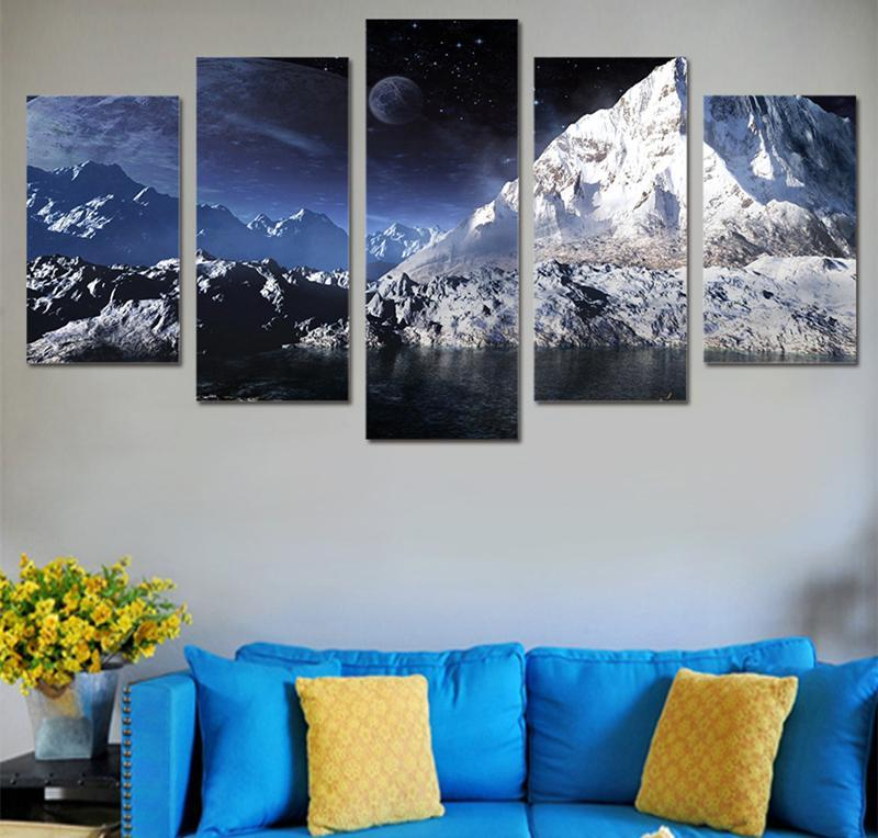 5Piece Home Decor Wall Picture Poster Prints Moon Ice Scenery Snow Mountain By Lake Canvas