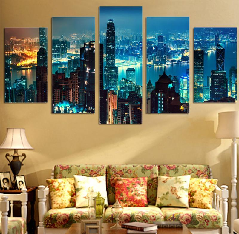 5Piece Canvas Poster Printed Painting Decor Picture Night View Canvas