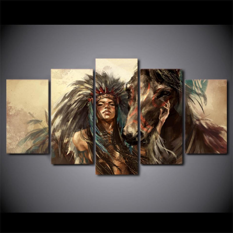 5 piece Canvas Art American Indian Girl Painting Horse Wall Pictures for Living Room