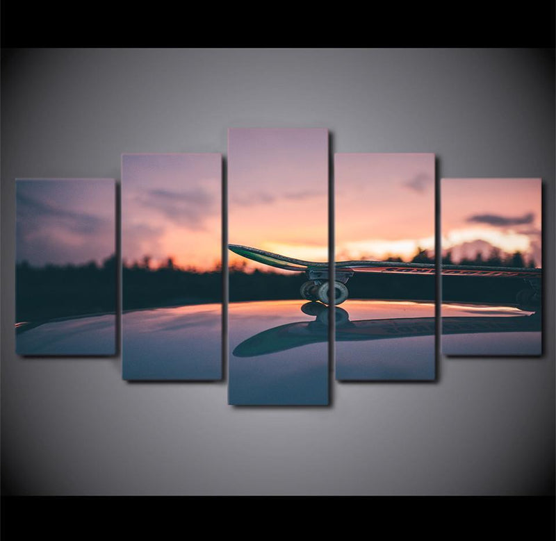 5 Piece Canvas Art Skateboard Sports Painting Sunset Wall Picture