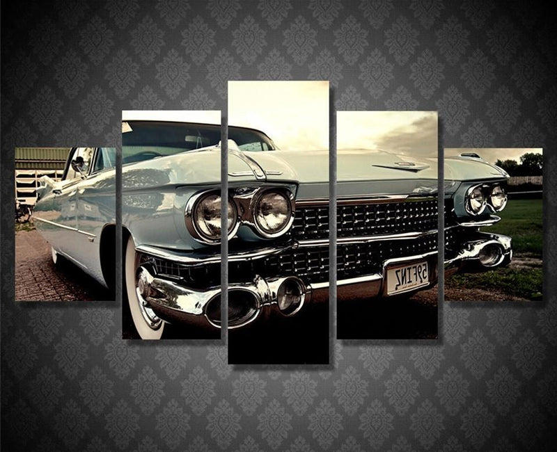 5Piece Wall Painting Calligraphy HD Printed Retro Car Art Modular Picture