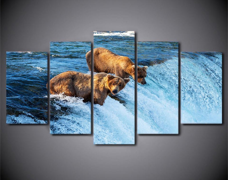 Canvas Prints 5 Piece Wall Art Painting Home Decor Prints And Posters Bear River Pictures