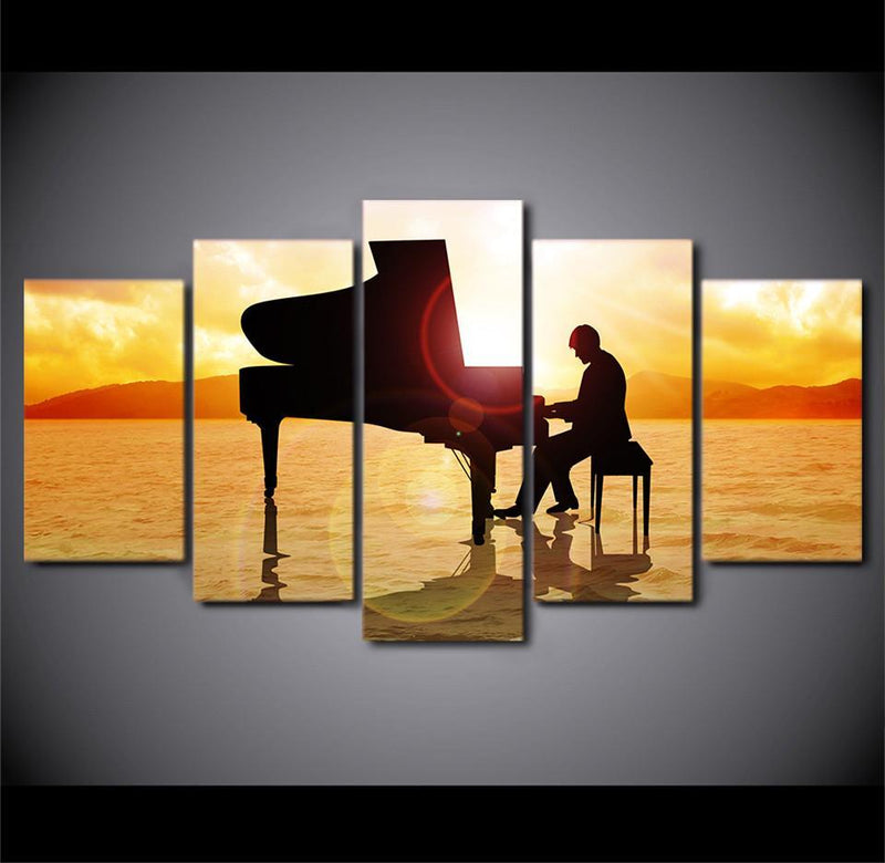 5Planes Canvas Art Music Paintings Poster And Print Landscape Sea Painting
