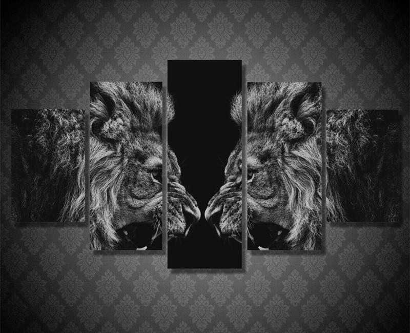 5Piece Wall Picture Modern Lion Mirror Poster Prints Home Decor Canvas
