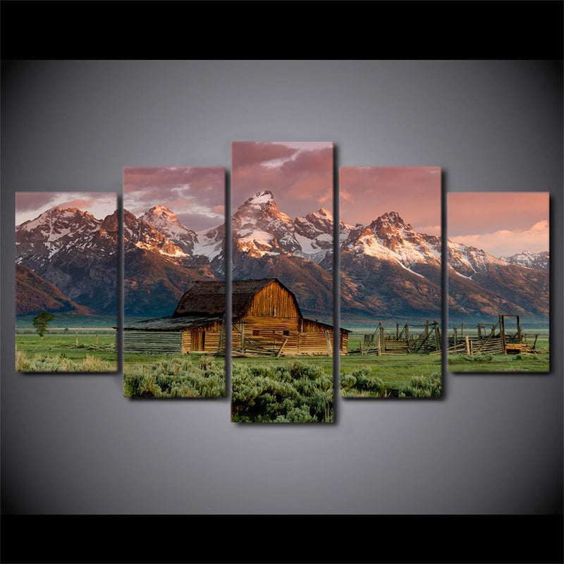 5 piece landscape canvas painting barn rocky mountains wall art