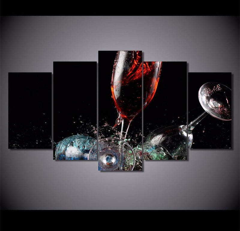 5Piece Canvas Art HD Printed Broken Glass Red Wine Painting