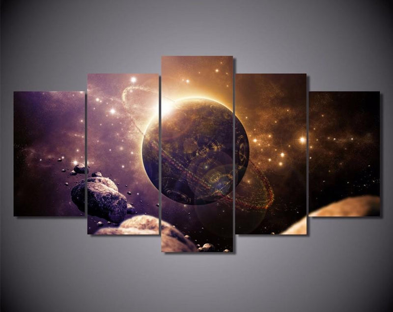 5Piece Painting Calligraphy Home Decor Galaxy Space HD Printed Planet Of The Universe
