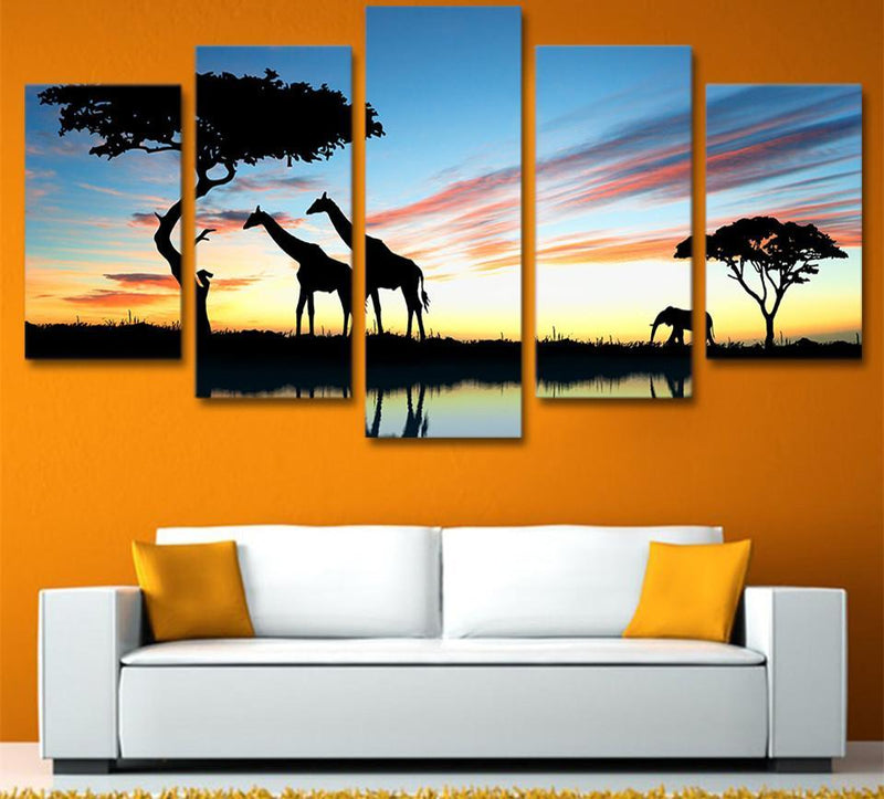 5 Piece Canvas Wall Art Modern Africa Elephants Paintings Decor Print And Poster