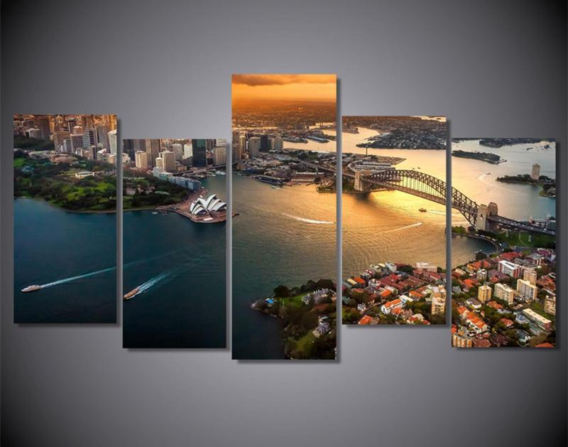 5Piece Sydney Australia Cityscape Wall Poster And Prints Modular Picture