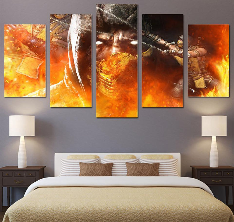 HD 5 Piece Canvas Printed Comic Mortal Kombat Painting Canvas Room Decor Movie Poster