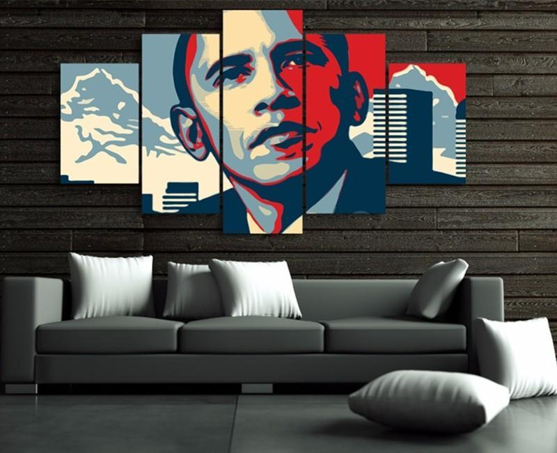 5Piece Wall Painting Picture President Barack Obama Print Posters Pictures