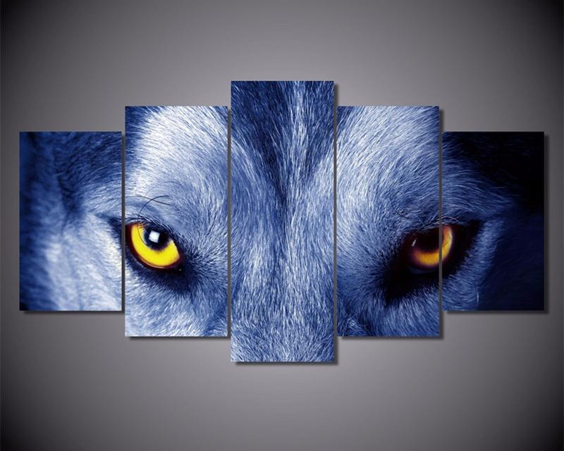 5Piece Wall Art Picture For Room Wolf Eyes Group Painting Print Poster Animal Canvas Painting
