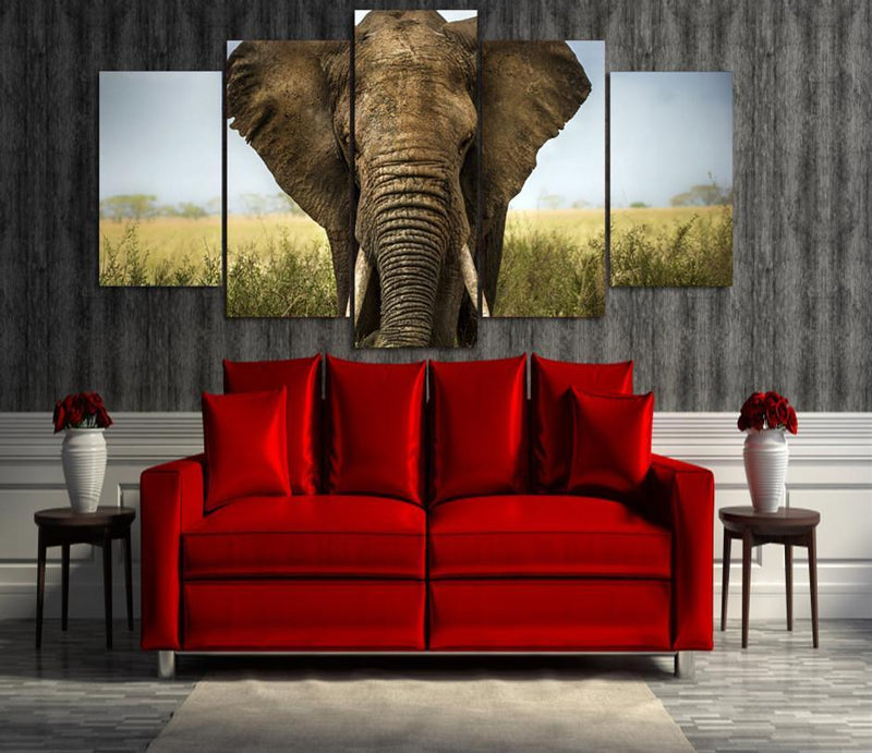 5 Piece Canvas Wall Art Modern Animal Elephant Painting Wall Picture Posters