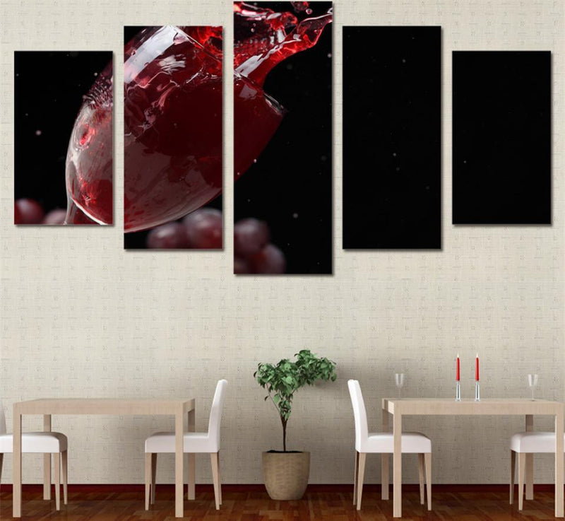 5Planes Canvas Art Room Wall Decoration Still Life Picture Grape Wine Glass Decor