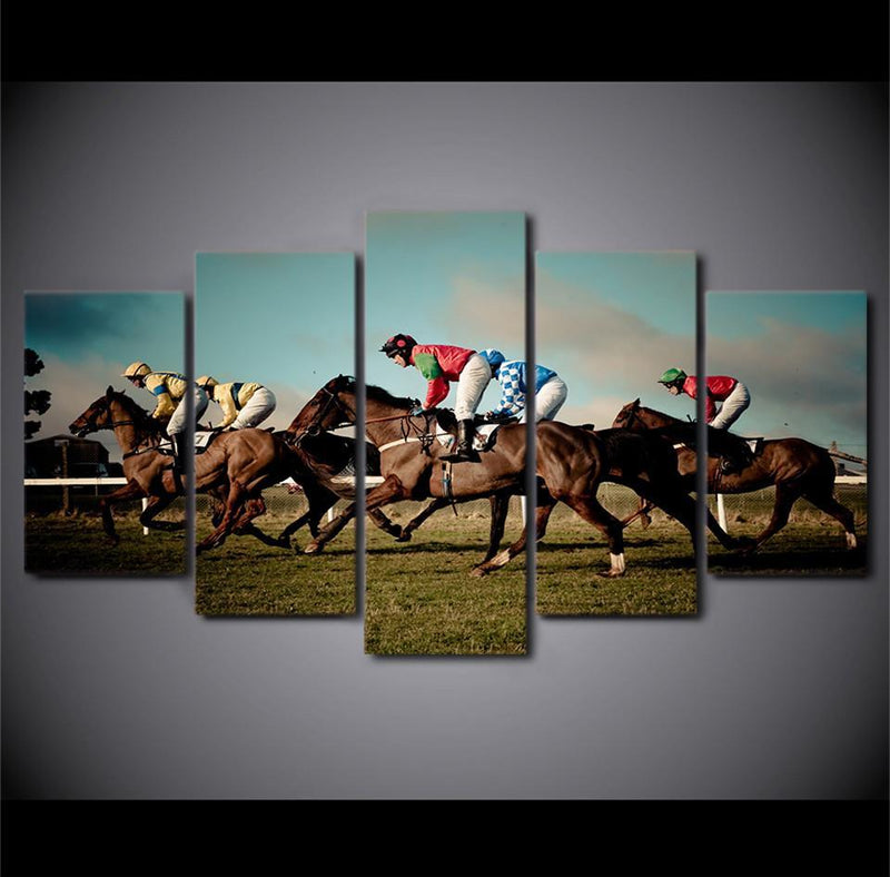 HD Printed 5 PieceCanvas Art Horse Racing Painting HD
