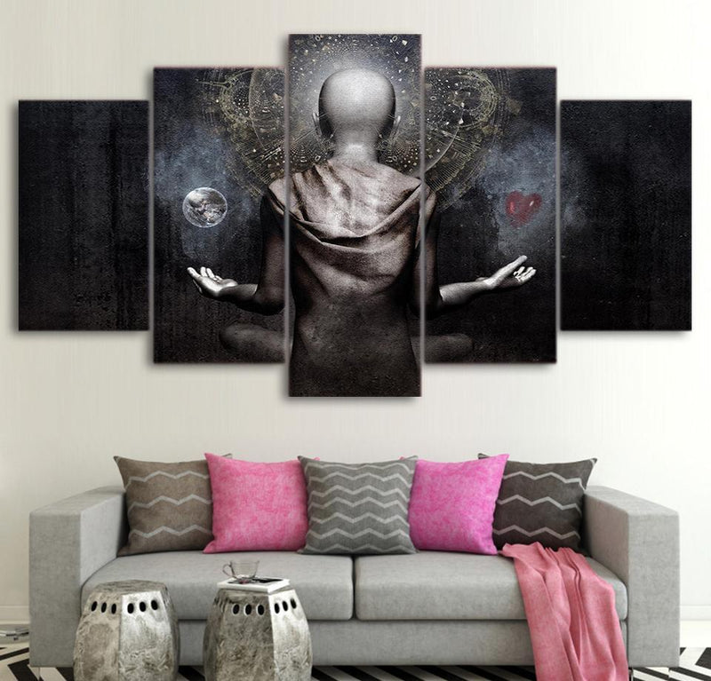 5Piece Wall Art Painting Canvas Poster Picture Wall Canvas Prints Buddh Painting