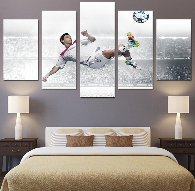 HD Printed 5 Piece Canvas Art Lionel Messi Football Paintings