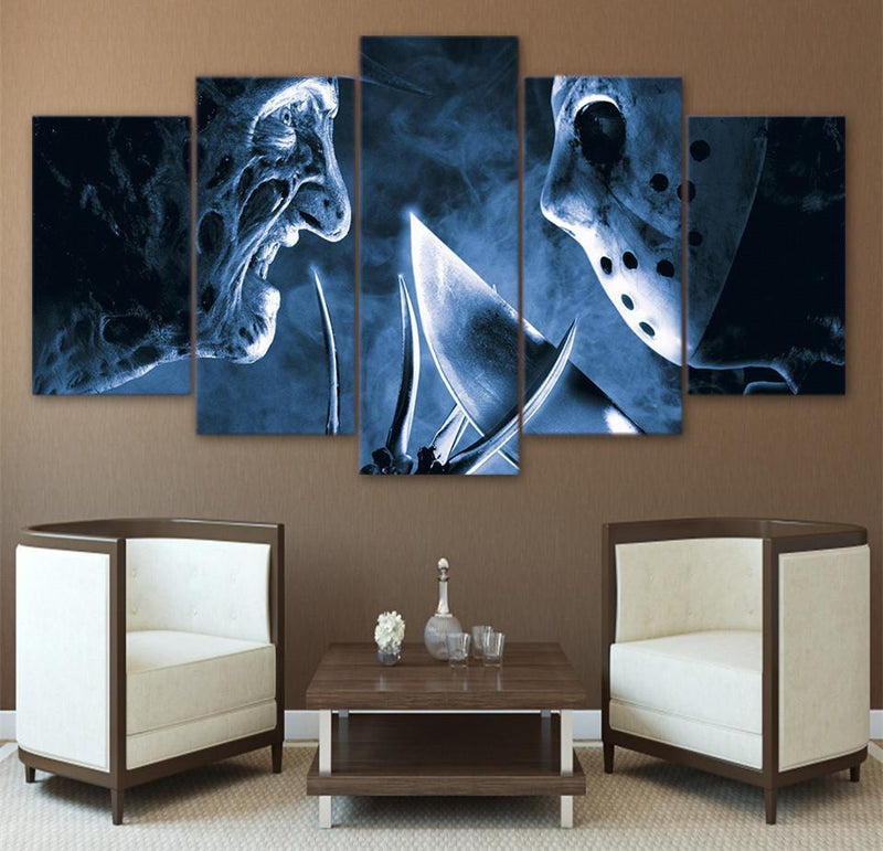 HD Printed 5 Piece Canvas Art Freddy VS Jason Wall Art Canvas Print Room Decor Wall Poster