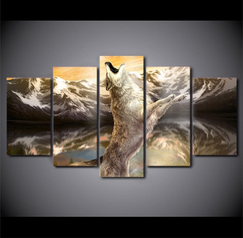 HD Printed 5 Piece Canvas Art Picture Wild White Wolf Animal Canvas Painting Mountain Wall