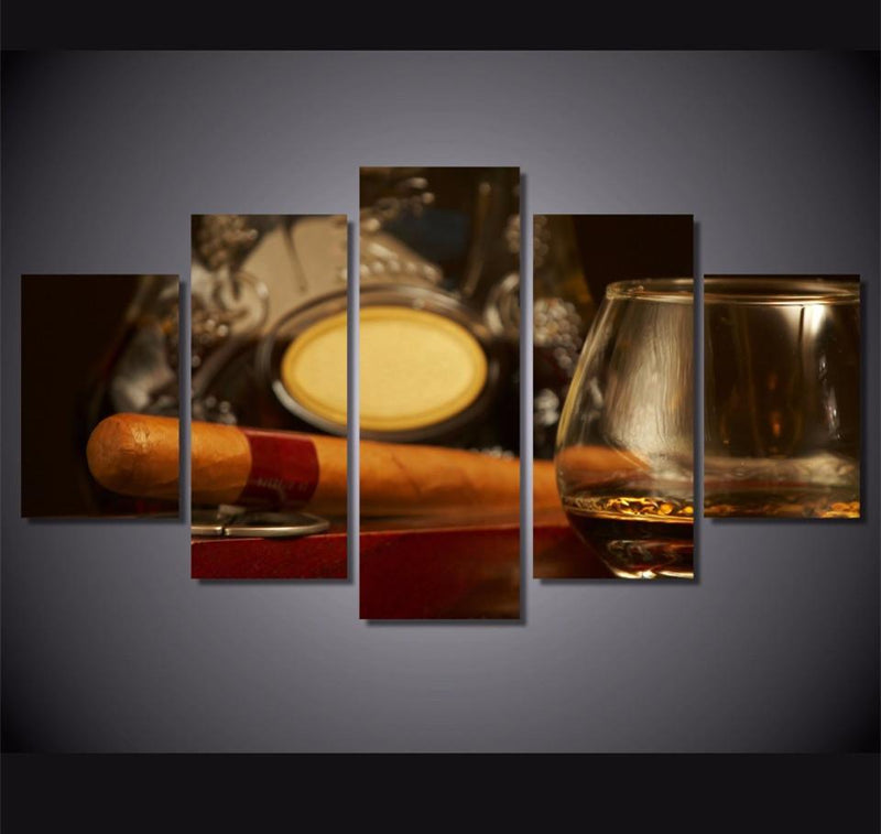 5Piece Canvas Art Painting Framed Printed Still Life Whisky Painting