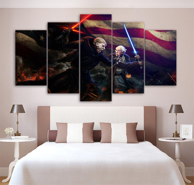 HD Printed 5 Piece Canvas Art Star Wars Printings Painting Framed Fight Movie Pos