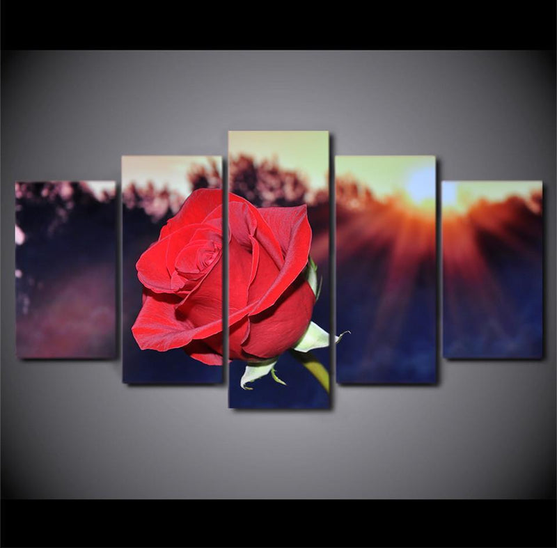 5 Piece Canvas Wall Art Red Flower Posters Painting Blooming Rose Wall Pictures