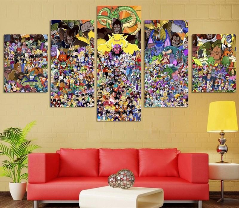 5Piece Canvas Prints Modern Cartoon Dragon Balls Pictures