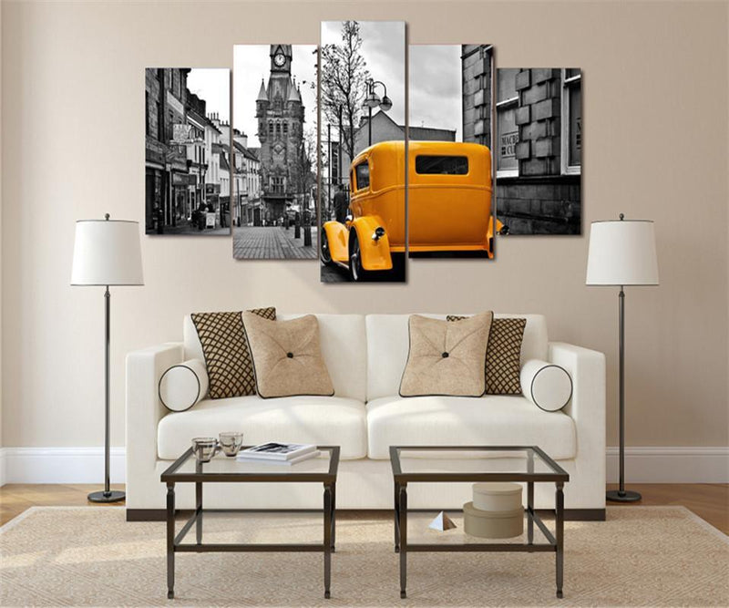 5Piece Home Decor Wall Painting Yellow Car Wall Art Home Decoration London Road Scenery