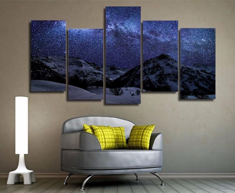 5Piece Home Decoration Wall Painting Polar Snow Mountain Star Modular On Canvas HD Printed Poster