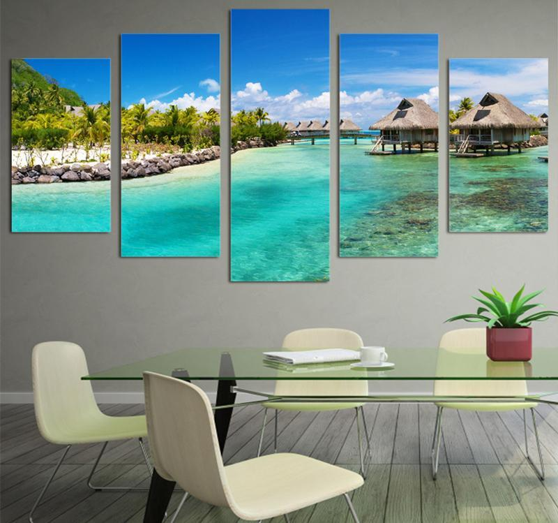5Piece HD Print Seasight Seascape Canvas Wall Art Canvas Painting