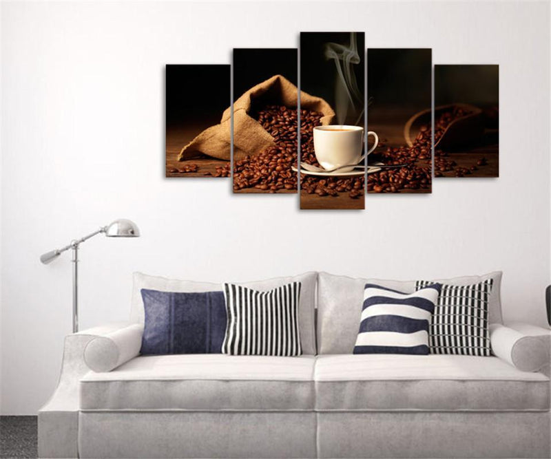5Piece Canvas Art Print Coffee Bean Painting Still Life Picture For Living Room Picture Prints
