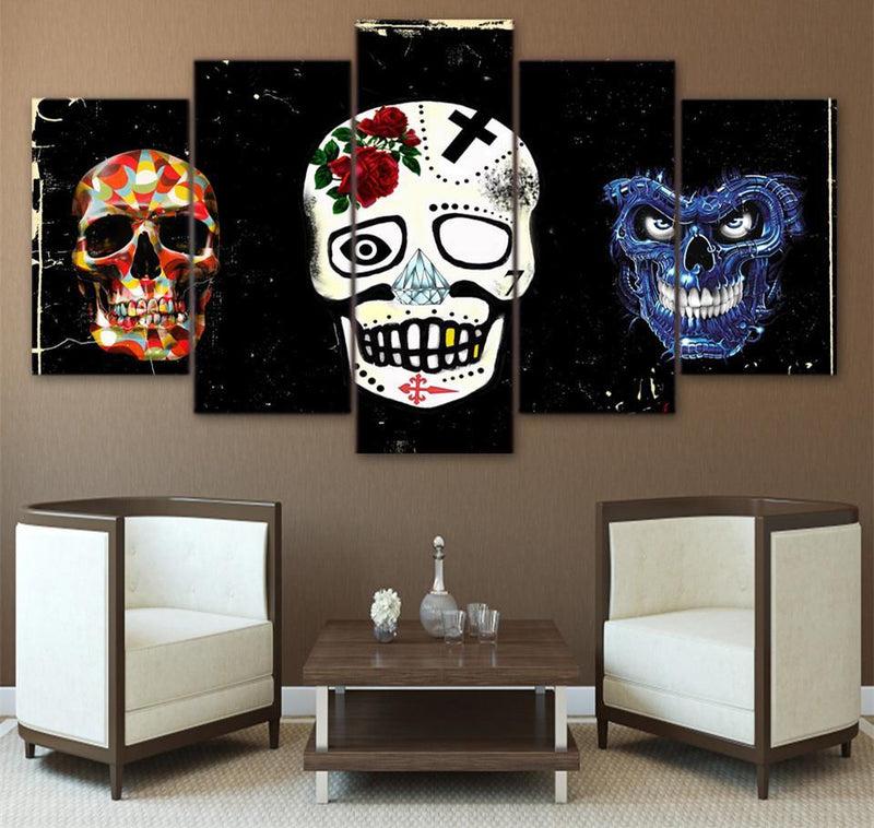 5 Panel Canvas Art Skull Abstract Modern Paintings Print And Posters