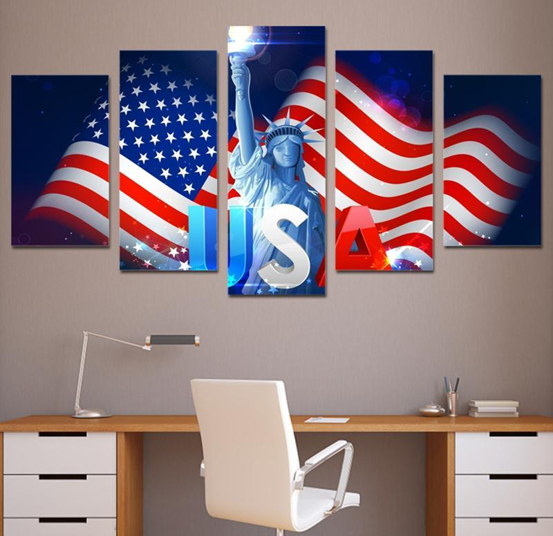5Piece Canvasl Art Print Number For USA National Flag Painting Picture