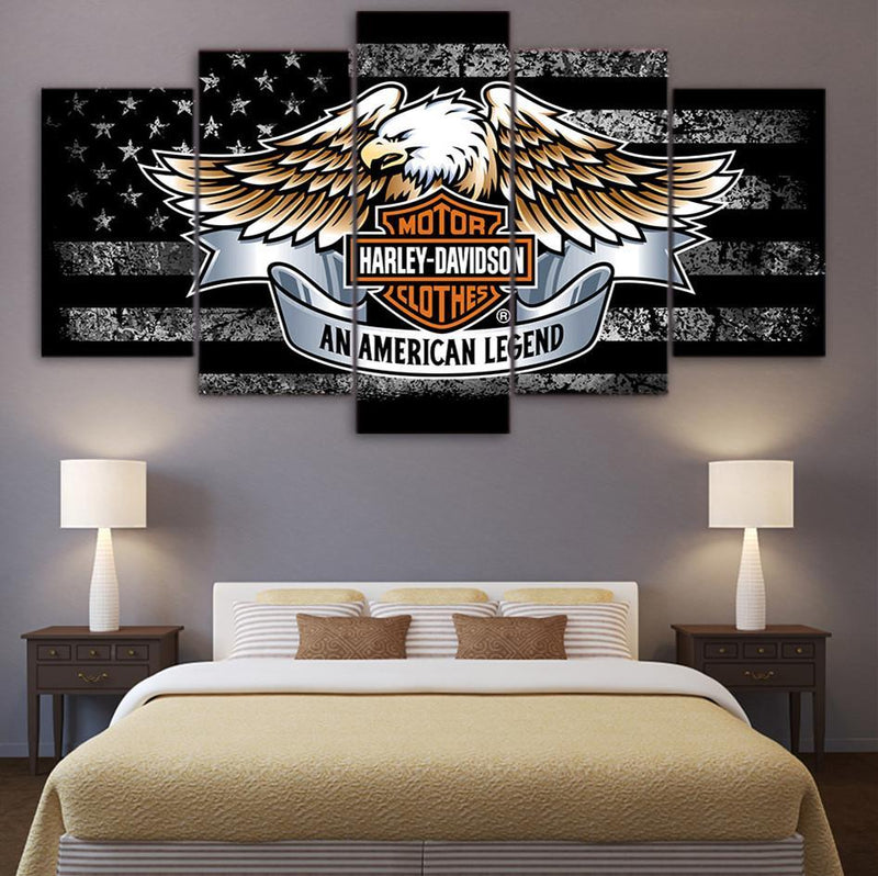 5 Piece canvas art Eagle American flag painting Wall Picture