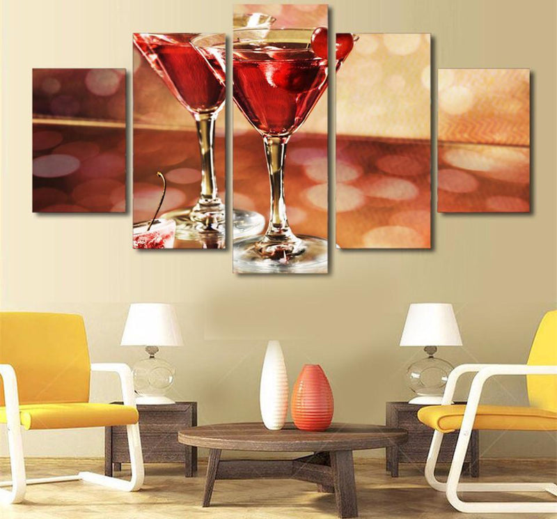 HD Printed 5 Piece Canvas Art Art Printed Poster Wine glasses Cherry Painting Canvas Print Pictures