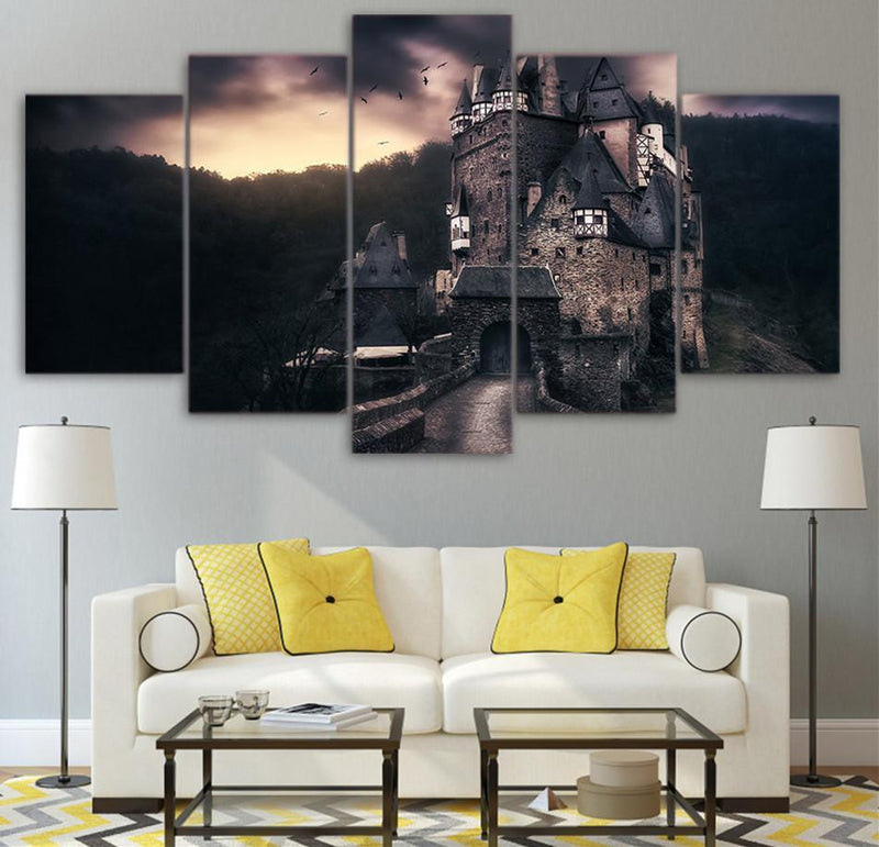 5Piece Canvas Printed Decoration Wall Art Vintage Castle Picture