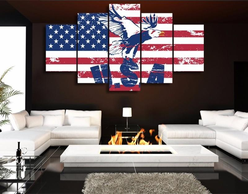 5Pieces Canvas Painting Flag Background Pictures