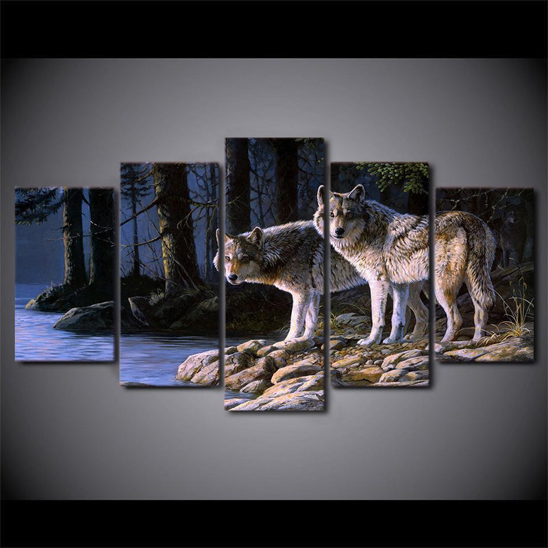 5 piece canvas art two wolves painting wall picture for living room