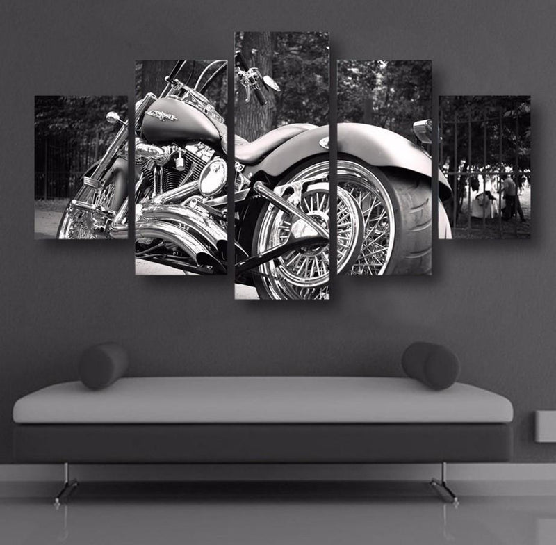 5Plane Home Decor Motorcycle Bike Balck Canvas Painting Calligraphy Posters