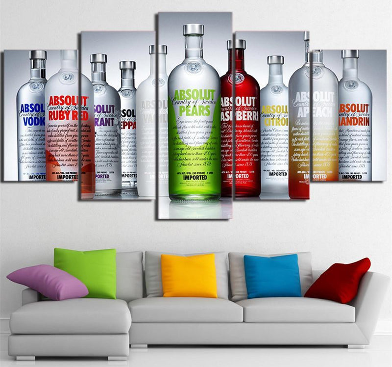 5 Piece Canvas Art Painting Canvas Absolut Alcohol Bottles Wall Art Prints Poster Decor Picture