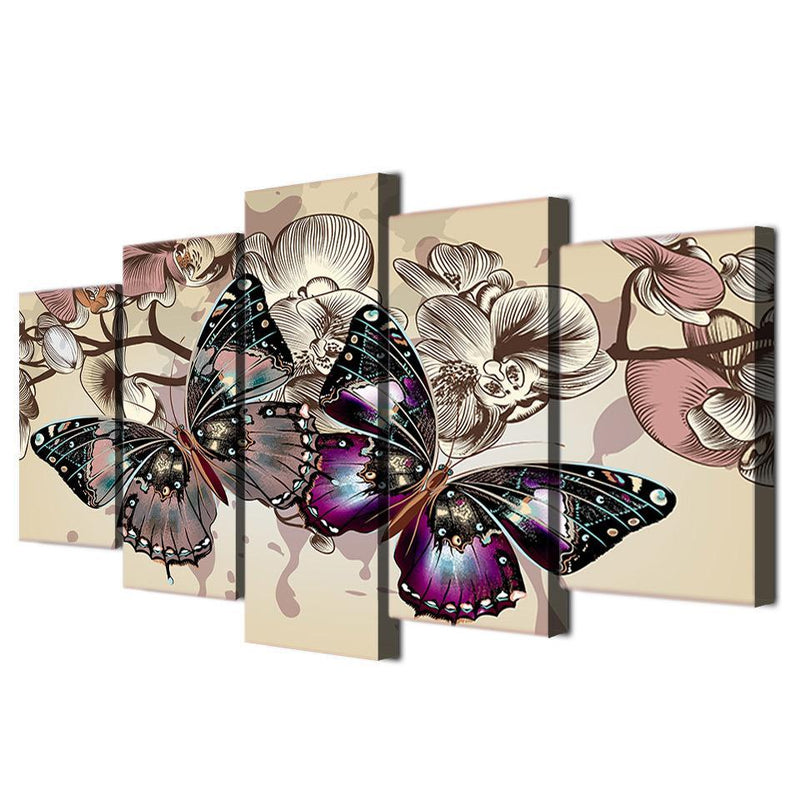5 piece canvas art abstract flower butterfly painting wall pictures for living room