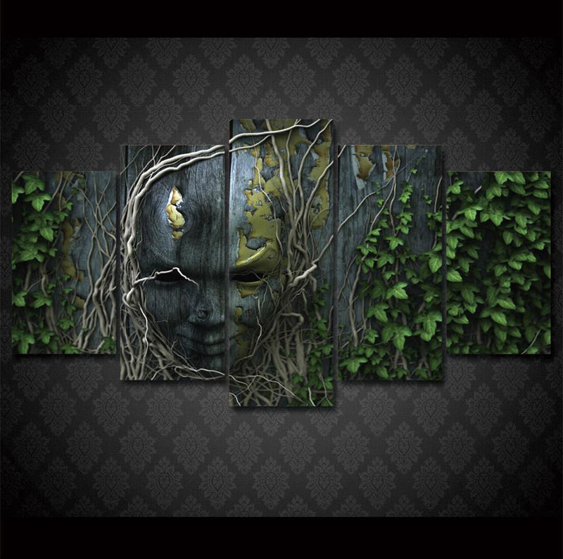 5Piece Home Decor Wall Vine Forest Hidden Face Canvas Painting