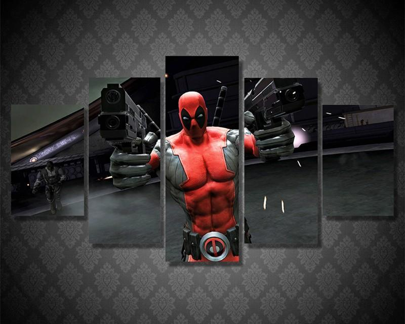 5Piece Wall Art HD Printed Deadpool Guns Game Paintings Movie Poster