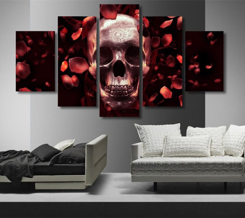 5Planes Wall Painting Art Pictures Roses Skull Full Res Canvas Paint Posters