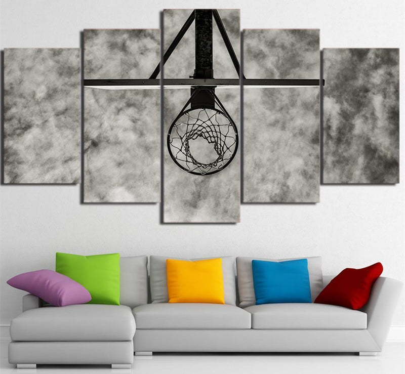 5Planes Canvas Art Painting Printed Basketball Circle Painting Sport Picture