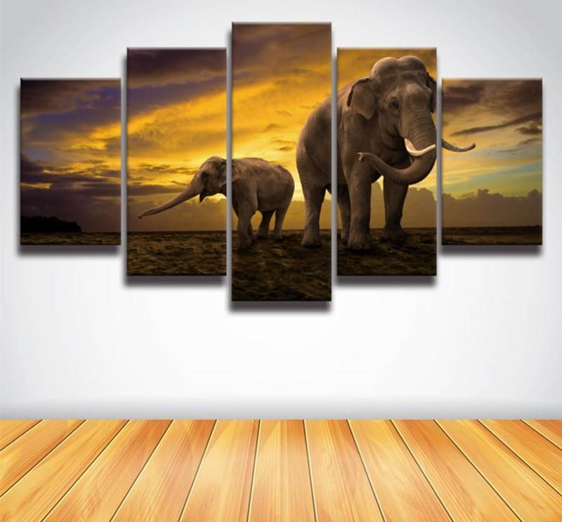 5Planes Canvas Painting African Elephant Art Picture Home Decoration Wall Prints Posters