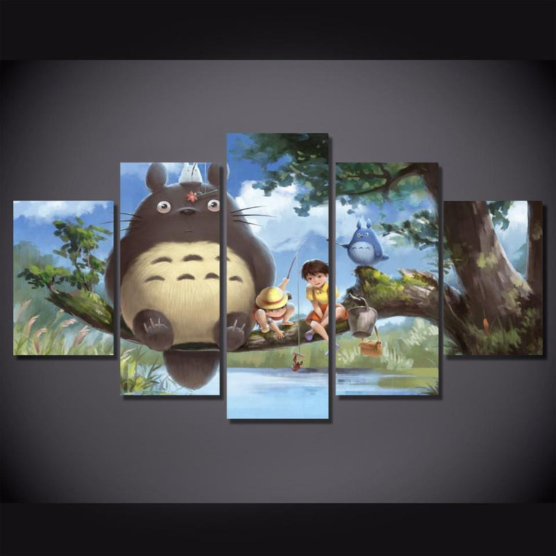 5 Piece Japanese Anime Poster Prints Totoro Wall Art Cartoon Canvas Picture Painting