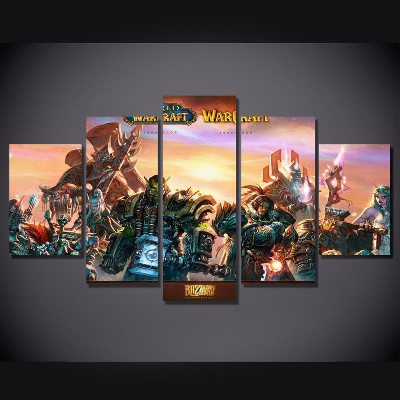 5Piece World Of Warcraft Game Poster Wall Pictures Canvas Painting